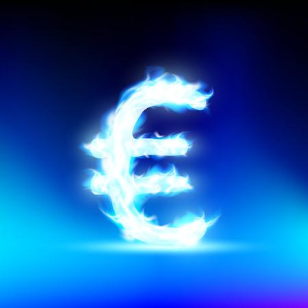 euro teken: Euro teken brandende blauwe vlam