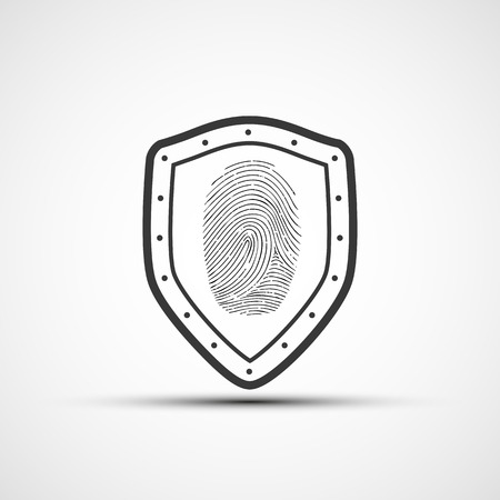 witness: Vector icons metal shield with the fingerprint Illustration