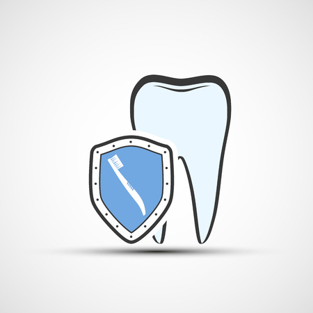 carious: Vector shield with a human tooth and toothbrush Illustration