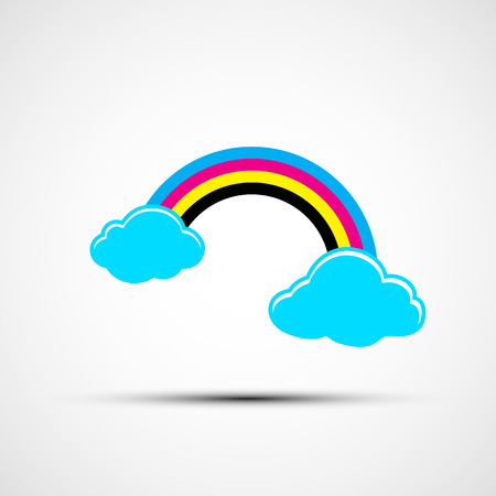 cmyk abstract: Vector icon cmyk rainbow and clouds