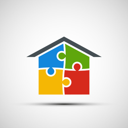 puzzle background: Vector real estate in the form of puzzles Illustration