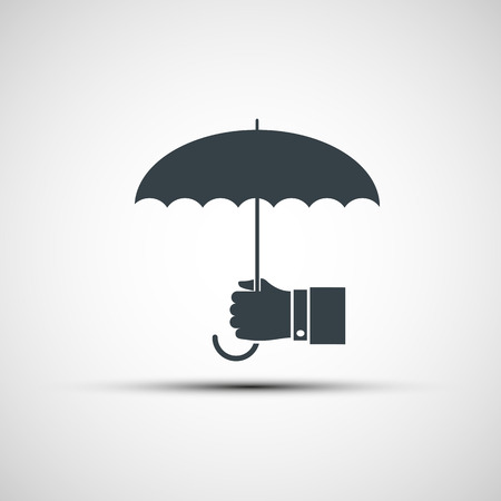 weatherproof: Vector icon of a human hand holding the umbrella