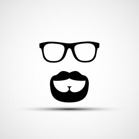 travesty: Vector illustration of glasses and a mustache with a beard isolated on white background Illustration