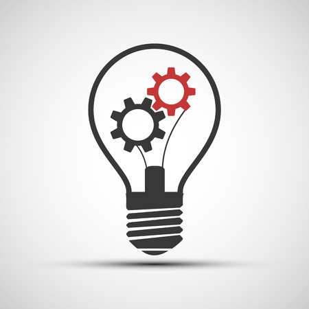 Vector icons light bulb with mechanical gears Illustration