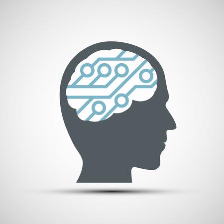 inteligencia: Icono del vector de cabeza humana con un chip de computadora