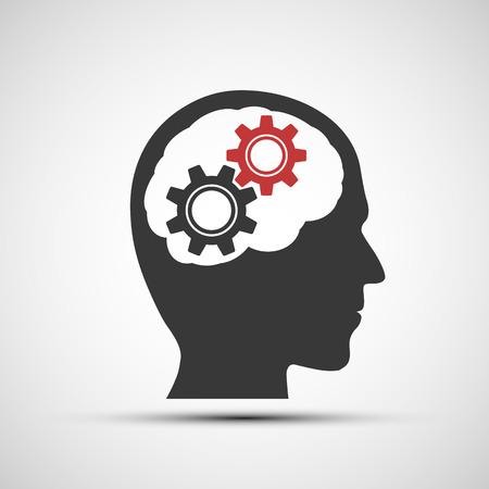 logica: Icono del vector de cabeza humana con engranajes mecánicos