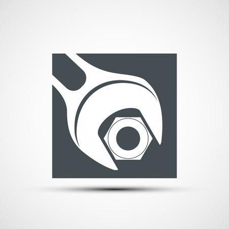 tighten: Vector icon wrench to tighten the screws Illustration
