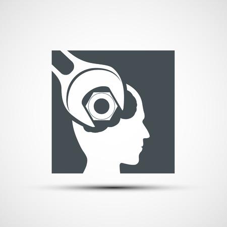 Vector icono llave para apretar los tornillos de la cabeza humana Ilustración de vector