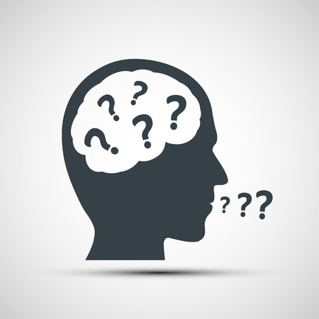 unsolvable: Vector icon of human head with question marks