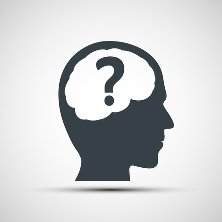 confuse: Vector icon of human head with a question mark Illustration