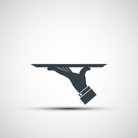 plato de comida: Icono del vector de la mano humana con una bandeja Vectores