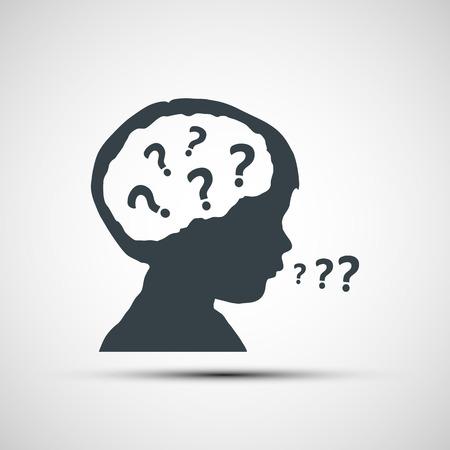 cabeza: Iconos de vector de cabeza de los ni�os con un signo de interrogaci�n