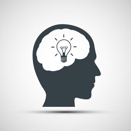 head light: Vector icon of human head with a light bulb Illustration