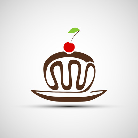 buttercream: Vector icons of chocolate cake with cherries