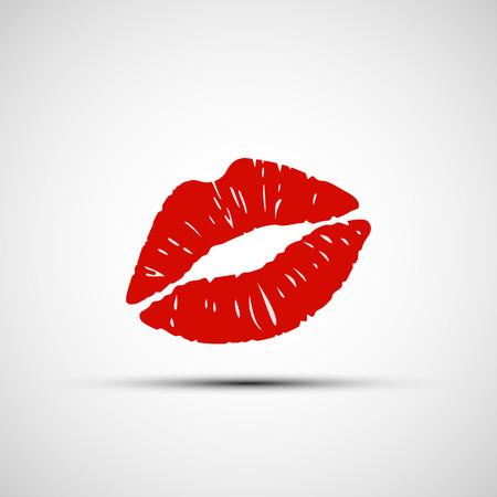 beso labios: Iconos del vector de la impresión labios femenina