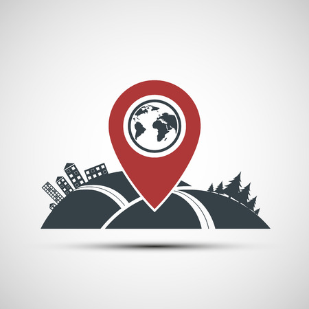 Vector icon pointer location on the map Vector