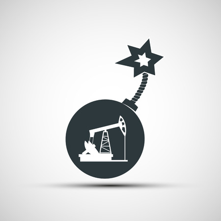 oilwell: Vector icon round bomb with a fuse and a picture of a pump for oil Illustration