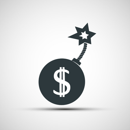 global crisis: Vector icon round bomb with a picture of a dollar sign