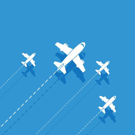 trajectoire: A�ronefs blanc sur un fond bleu