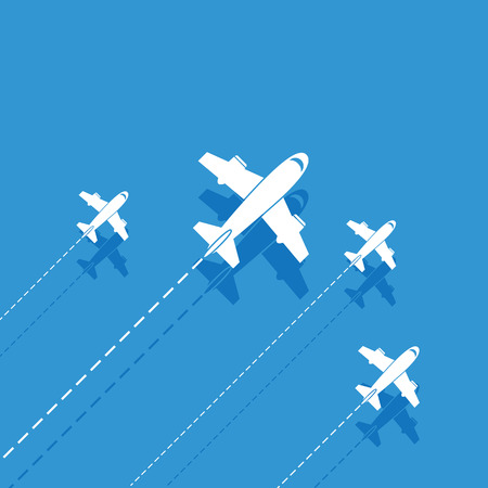 trajectory: White aircraft on a blue background Illustration