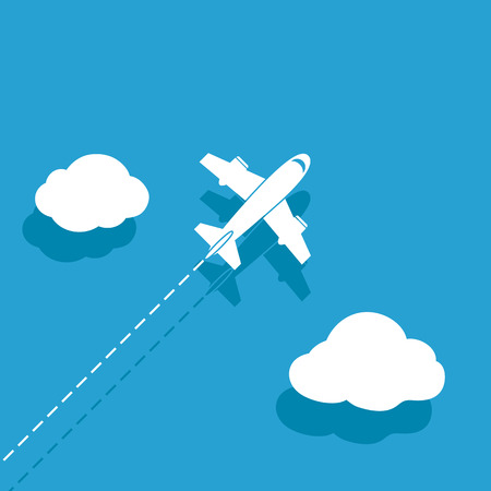 trajectory: White airplane on a blue background