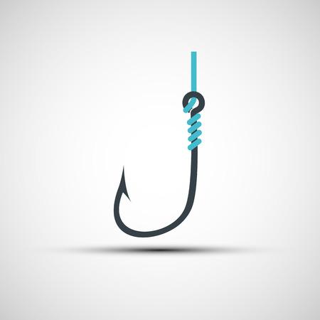Vektor-Symbole-Fischerei-Haken und Linie