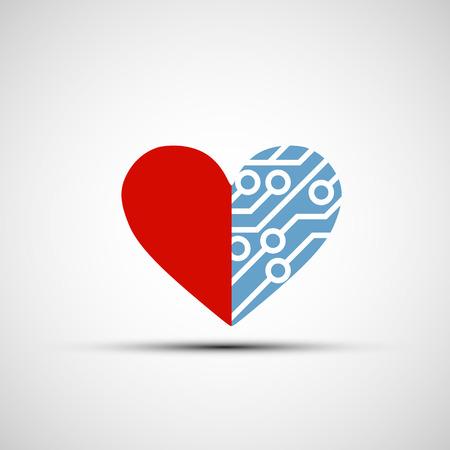corazon humano: Vector icono de coraz�n y de circuitos humana