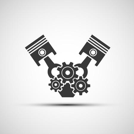 Vector icon of automotive engine