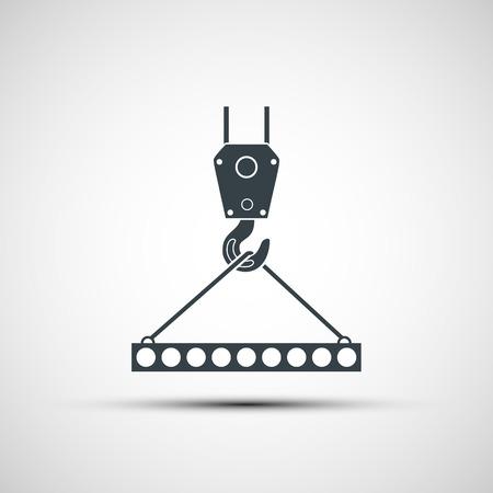 camion grua: Iconos del vector de gancho industrial con losa de hormigón armado