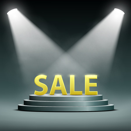 floodlit: word sale located on the podium and floodlit