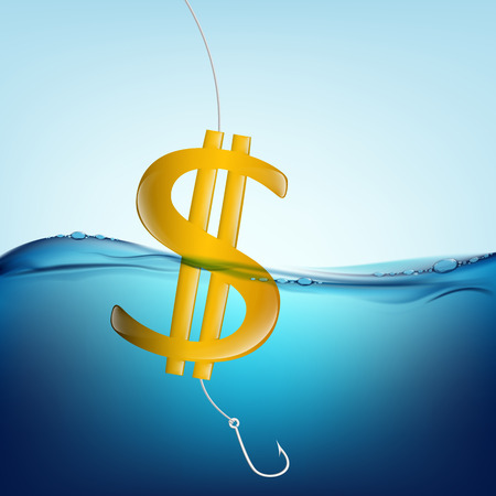 underwater fishes: dollar sign in the form of a float and a fishing hook