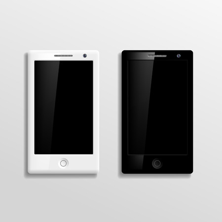 Vector black and white smartphones Vector