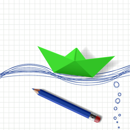 cargo ship: Green paper boat on the water surface, which is drawn with a pencil Illustration