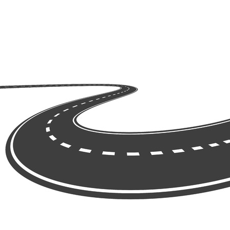 winding road: Vector highway isolated on a white background