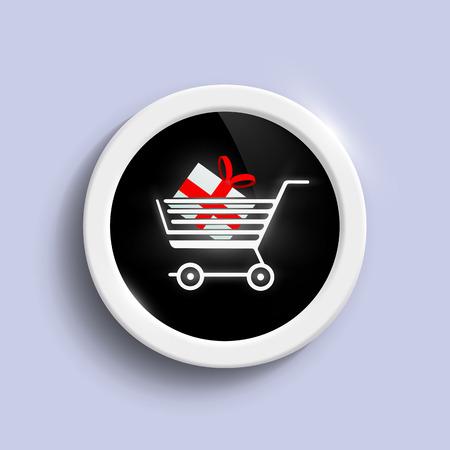 Button with a shopping cart Vector