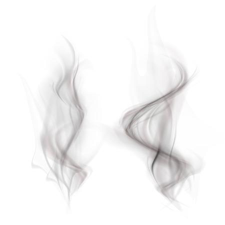vector set van zwarte rook geïsoleerd op een witte achtergrond Stock Illustratie