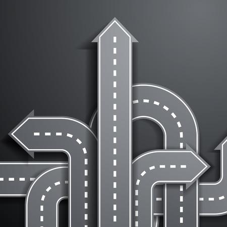 crossroads: arrows in the form of roads