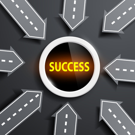 succeeding: arrows in the form of roads aimed at the center with the word success