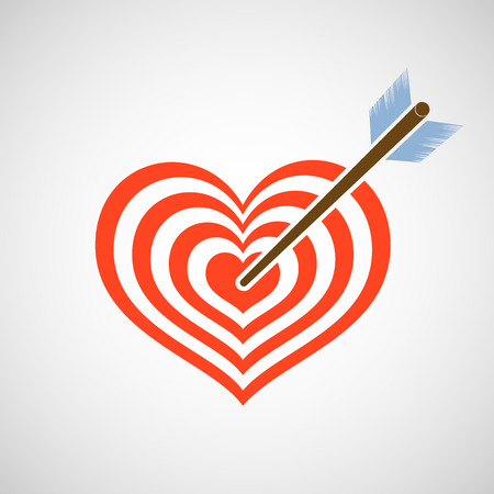 love target:  heart as a target and arrow. Vector image.