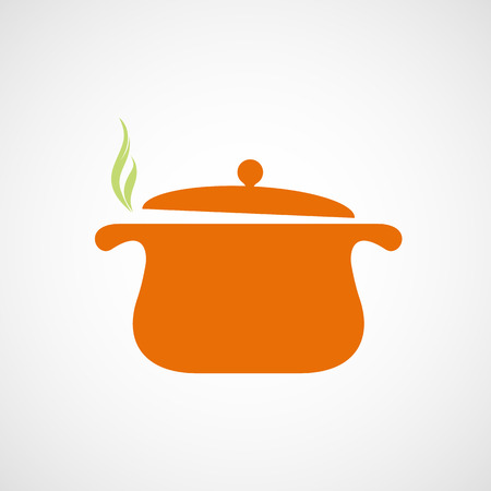 the pan with steam. Vector image. Illustration