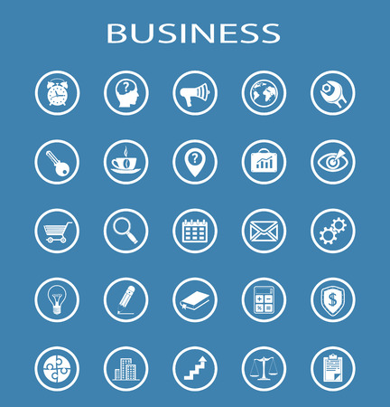isolation: Vector Business Line Icons. Isolation on a blue background Illustration