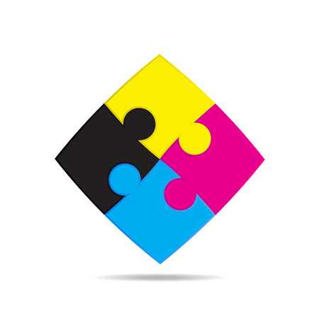 corrections: CMYK colors design. Puzzles are colored pigment