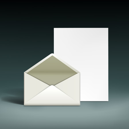 e new: Envelope and a sheet of paper. Vector illustration