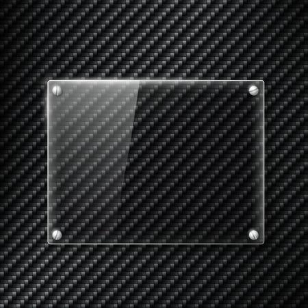 carbon fiber: Glass signboard on the surface of carbon fiber