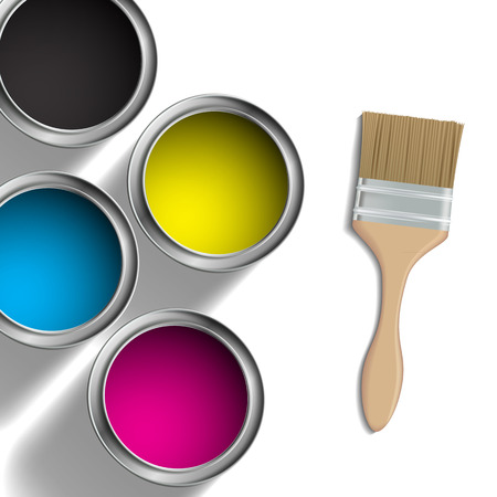 pigment: CMYK colors design. Pigment in buckets Illustration