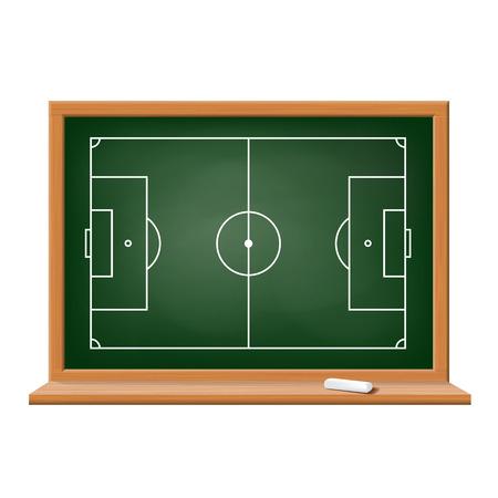 Soccer field drawn on a blackboard. Vector image. Vector