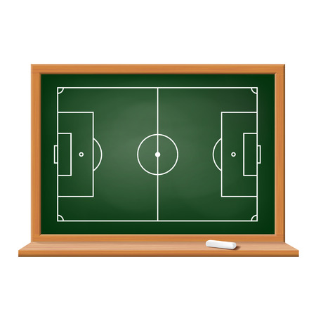 score board: Soccer field drawn on a blackboard. Vector image. Illustration
