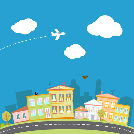 Cartoon city with houses and streets. Vector image. Vector