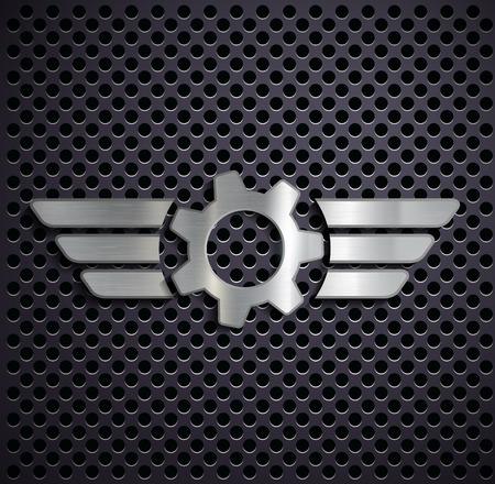 Metal gear with wings. Vector image. Vector