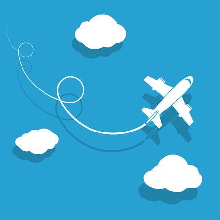 The plane is flying among the clouds. Vector image.